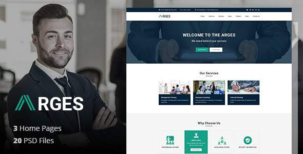 Arges Corporate – Business, Professional and Consulting Services PSD Template            TFx Chandler Arsen