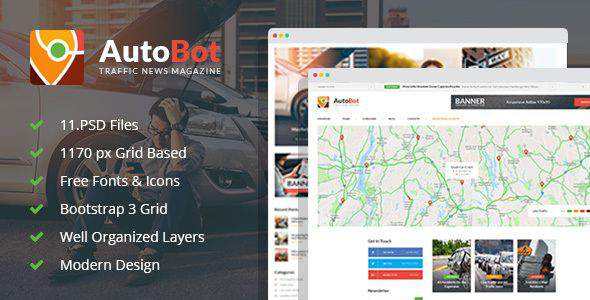 AutoBot - Traffic News Magazine PSD Template            TFx Jonathon Willka
