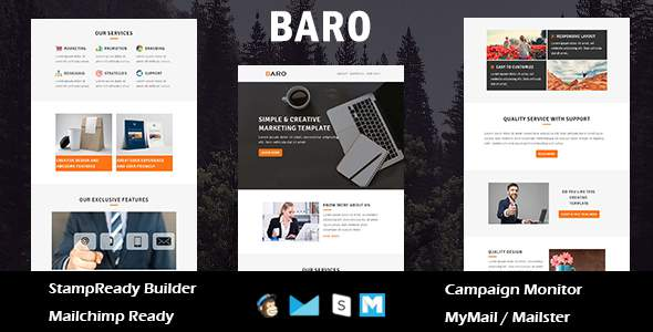 Baro - Multipurpose Responsive Email Template With Online StampReady Builder Access            TFx Noble Ronnie