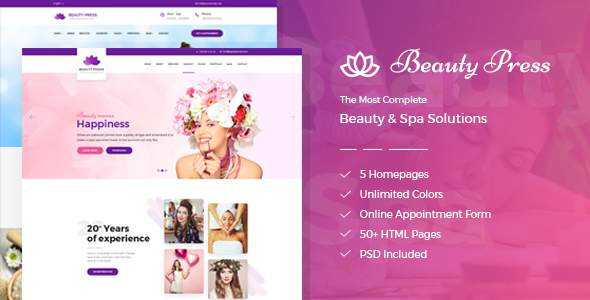 BeautyPress - Beauty Spa Salon Wellness Html Template            TFx Millard Raphael