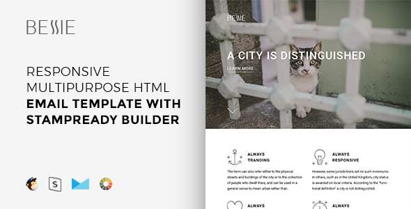 Bessie – Responsive Multipurpose Email Template + Stampready Builder            TFx Blythe Roy