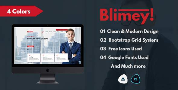 Blimey! - Single Page Corporate PSD Template            TFx Steph Driscoll