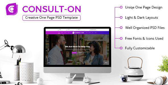 CONSULTON | One Page Business Consulting PSD Template            TFx Carlisle Bagus