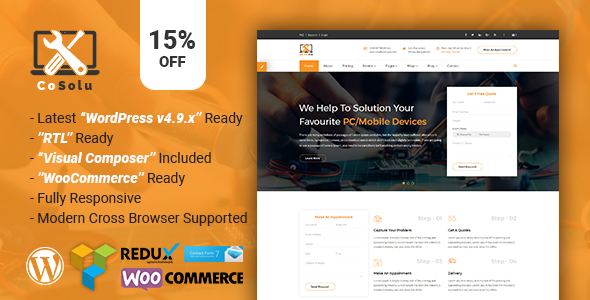 CoSolu | Multipurpose Servicing and Repairing WordPress Theme            TFx Noboru Sefton