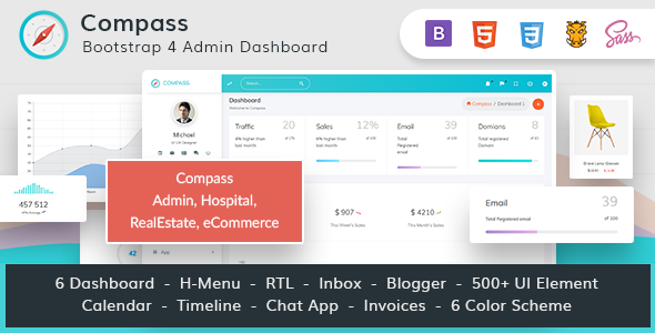 Compass - The ultimate Bootstrap 4 Admin Dashboard            TFx Hewie Roderick