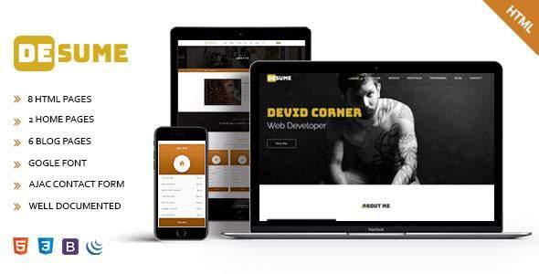 Desume – Onepage CV/Resume HTML Template            TFx Morton Bennie