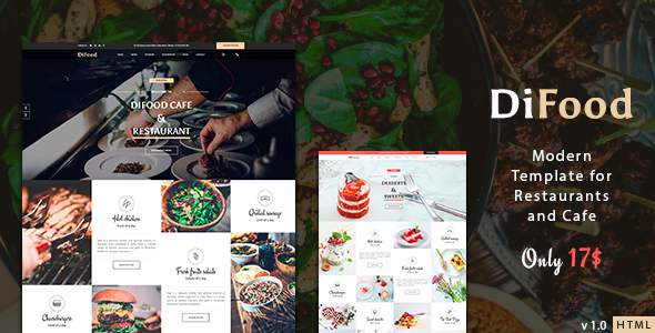 DiFood - Restaurant And Cafe HTML Template            TFx Takumi Pace