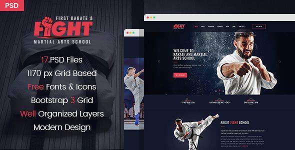 Fight - Karate/Martial Arts School PSD Template            TFx Wayan Yuudai