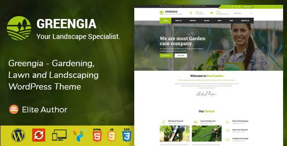 Greengia - Landscaping WordPress Theme            TFx Raine Sulaiman
