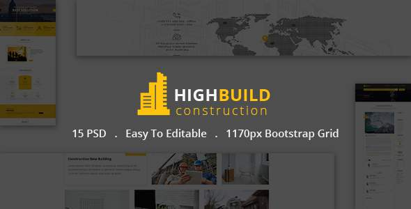 HIGHBUILD  | Construction, Building, Business, Renovation and Architecture PSD Template            TFx Deforrest Ted