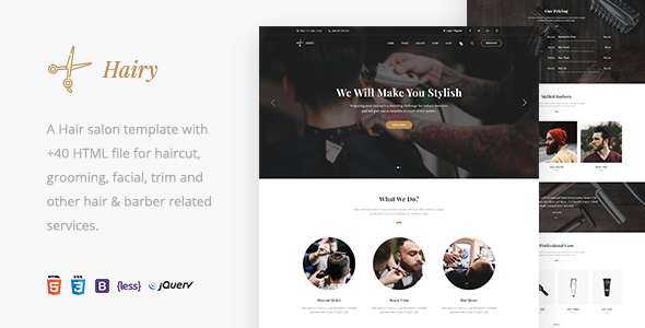 Hairy - Barbershop & Hair Salon HTML Template            TFx Rudyard Basil