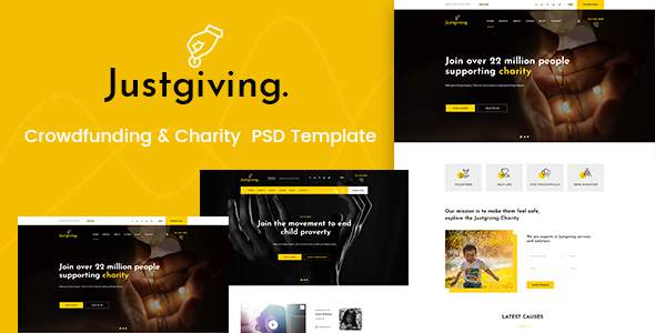 Justgiving - Crowdfunding & Charity PSD Template            TFx Ian Sarkis