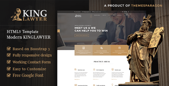 Kinglaw - Attorney & Lawyer HTML Template            TFx Zackary Clancy