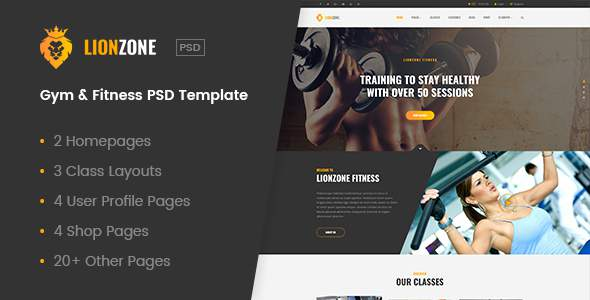 Lionzone | Gym & Fitness PSD Template            TFx Katsuo Tibby