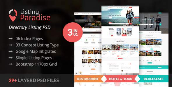 Listing Paradise Directory Listing PSD Template            TFx Alva Gordy