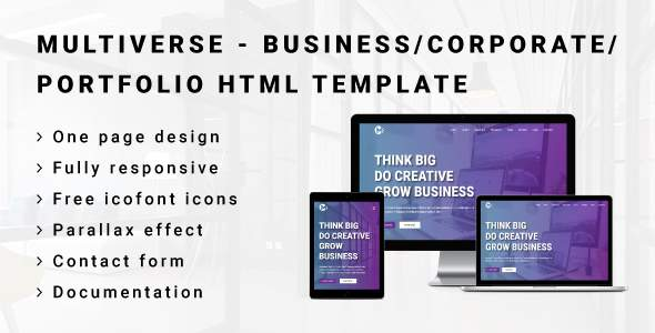 MULTIVERSE – Multipurpose Business/Corporate/Portfolio HTML Template            TFx Gordon Kelley