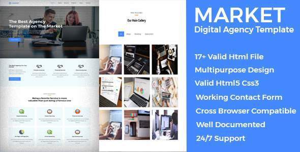 Market Multipurpose Digital Agency Template            TFx Kimball Nori
