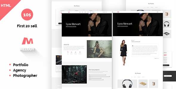 Melody Photographer Agency One Page Template            TFx Ararat Tecumseh