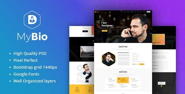 MyBio – One Page Personal Portfolio PSD Template            TFx Skyler Toros