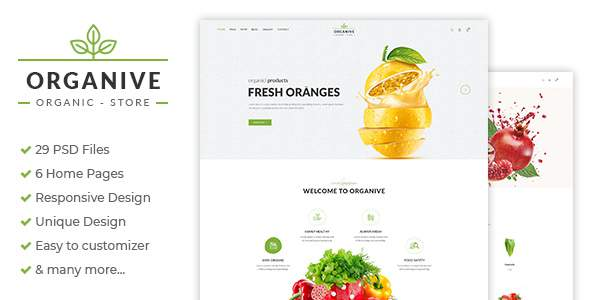 Organive - Organic Store & Eco Food Products PSD Template            TFx Wright Delano