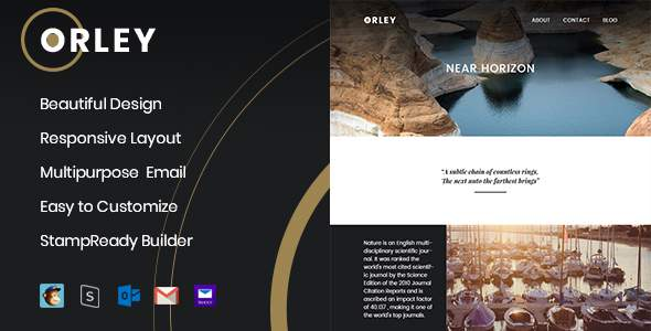 Orley – Responsive Email Template + StampReady Builder            TFx Clark Billy
