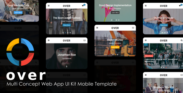 Over - Multi-Concept Web App UI Kit Mobile Template            TFx Cale Otto