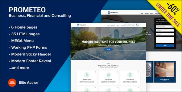 PROMETEO - Business, Financial and Consulting Site Template            TFx Meriwether Benson