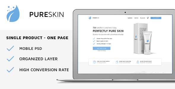 PureSkin - Single Product / Ecommerce / Bootstrap / PSD Template            TFx Timur Jett