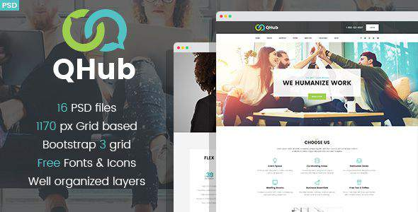 QHub - Сoworking And Office Space PSD template            TFx Cash Linden