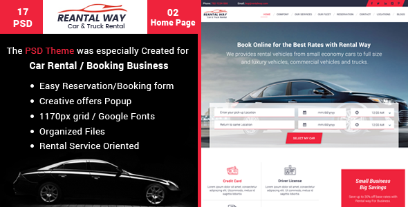Rental Way - Car & Truck Rental, PSD Template            TFx Rafferty Morris
