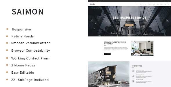 Saimon – Business Consulting and Professional Services HTML Template            TFx Derick Surya