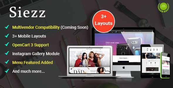 Siezz - Multi-purpose OpenCart 3 Theme ( Mobile Layouts Included)            TFx Cheyenne Hal