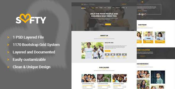 Softy Charity PSD Template            TFx Herman Tayler