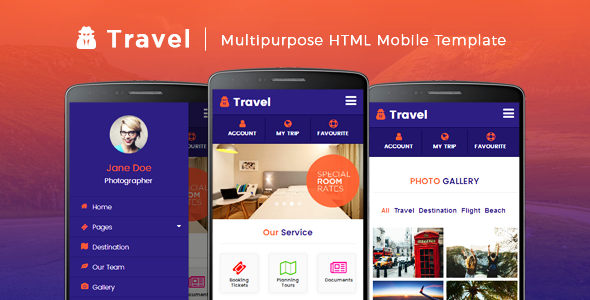 Travel - Multipurpose HTML Mobile Template            TFx Denis Shaw