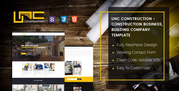 Unc Construction - Construction Business, Building Company PSD Template            TFx Sid Tristin