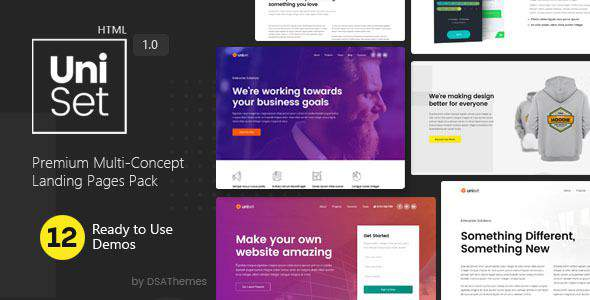 UniSet - Premium Multi-Concept Landing Pages Pack            TFx Putu Denzel