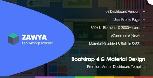 Zawya - Bootstrap 4 & Material Design Premium Admin Dashboard Template            TFx Haik Izzy