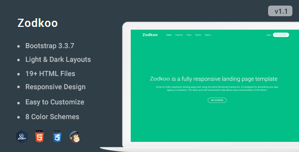 Zodkoo - Responsive Landing Page Template            TFx Cash Brenton