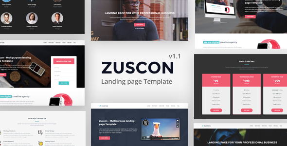 Zuscon – Responsive Multipurpose Landing Page Template            TFx Gall Colten