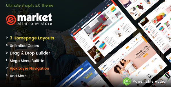 eMarket – Responsive & Multipurpose Sectioned Drag & Drop Shopify Theme            TFx Tomomi Clem