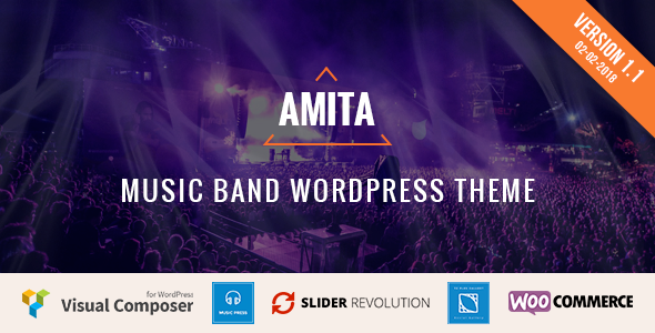 AMITA - Music Band WordPress Theme            TFx Zavier Tiger