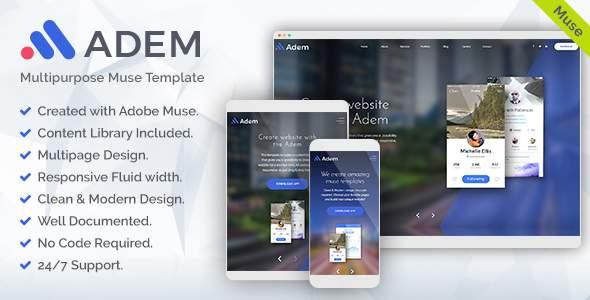 Adem - Corporate Multipurpose Muse Template            TFx Cameron Biff