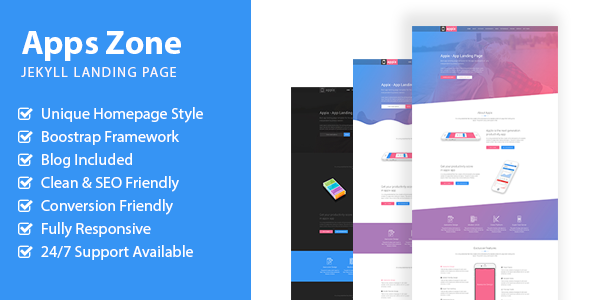 AppsZone - Jekyll App Landing Page            TFx Garry Tolly