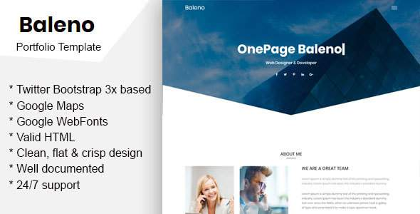 Baleno – One Page Portfolio Template            TFx Xavier Tristen