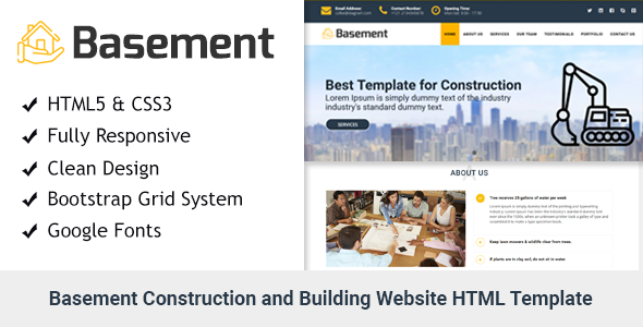 Basement- Construction and Building One Page HTML Template            TFx Dell Maximilian
