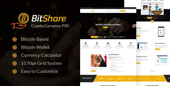 Bit Share - Bitcoin Crypto Currency PSD Template            TFx Nic Diggory