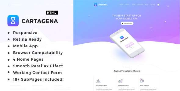 Cartagena | App Landing HTML Template            TFx Lyle Derryl