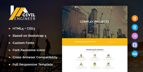 Civil Engineer – Construction Bootstrap Template for Architect            TFx Alan Isador