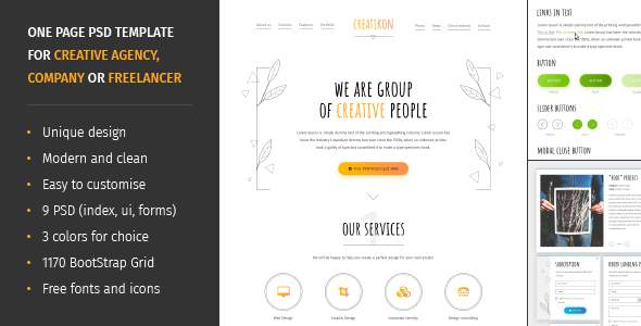 Creatikon | One Page PSD Template for Digital Agency, Creative Company or Freelancer            TFx Galen Amias