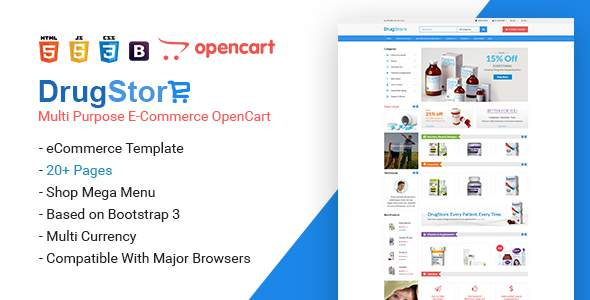 Drug Store Multipurpose e-Commerce OpenCart Theme            TFx Mikey Diocletian